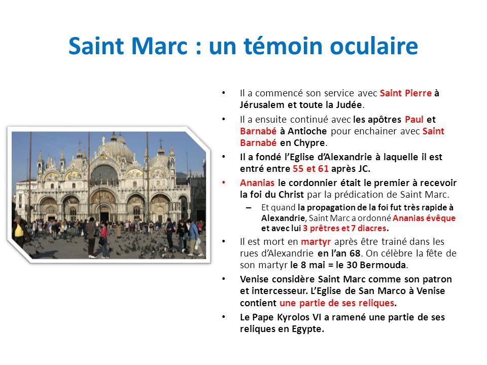 Saint Marc : un témoin oculaire