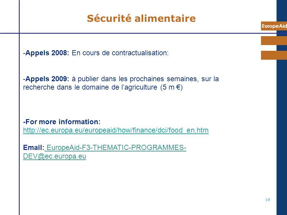 Sécurité alimentaire Appels 2008: En cours de contractualisation: