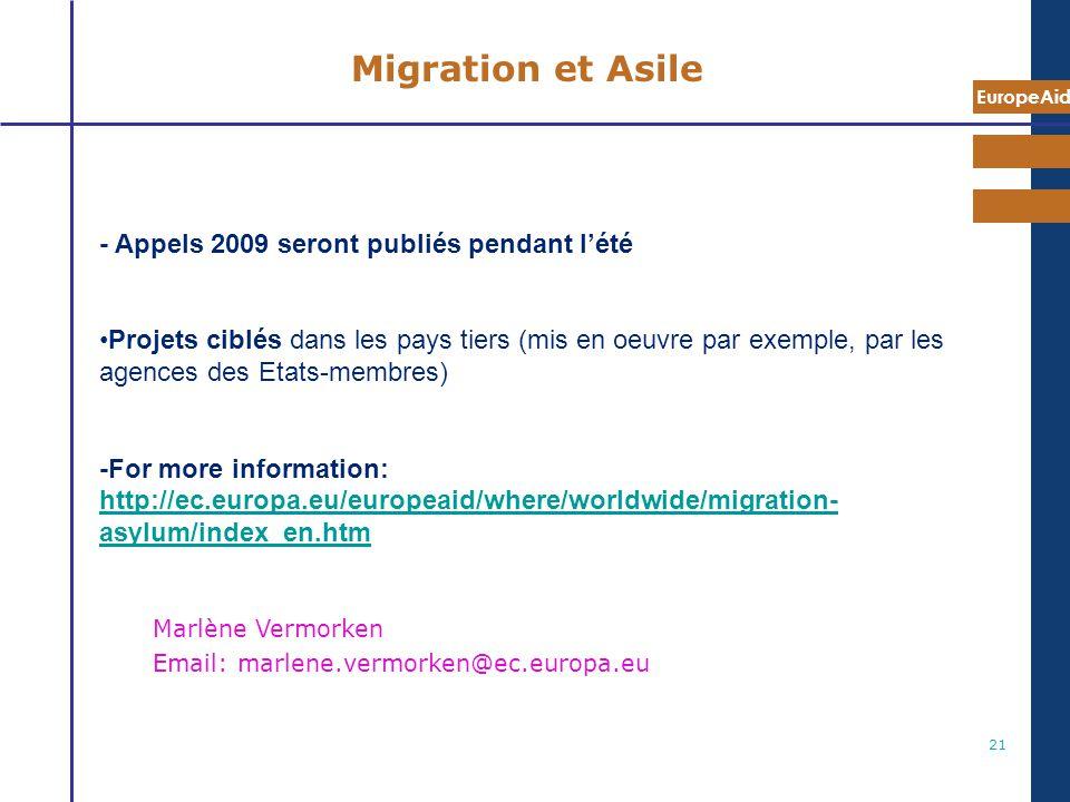 Migration et Asile - Appels 2009 seront publiés pendant l'été