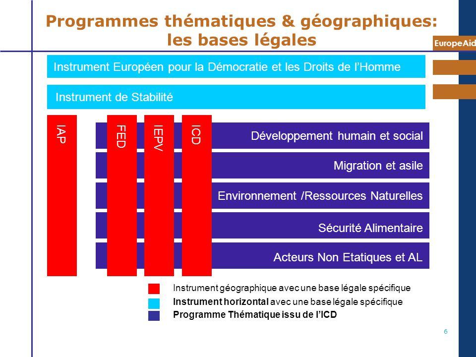 Programmes thématiques & géographiques: les bases légales