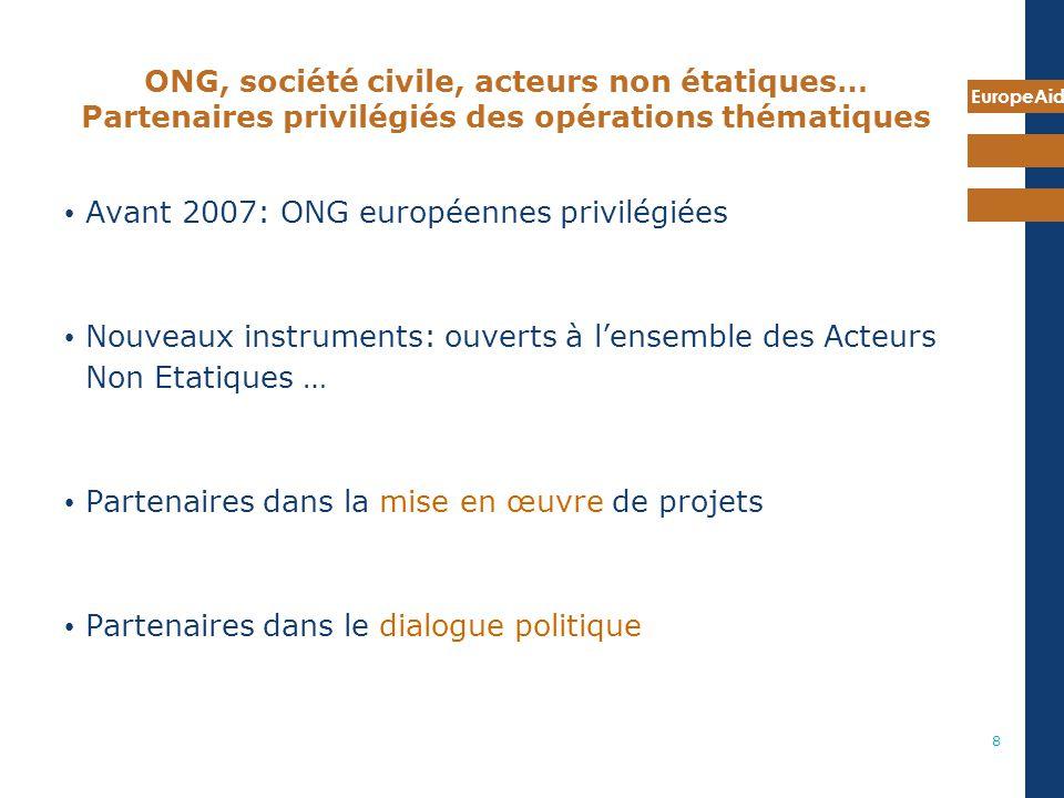 ONG, société civile, acteurs non étatiques… Partenaires privilégiés des opérations thématiques