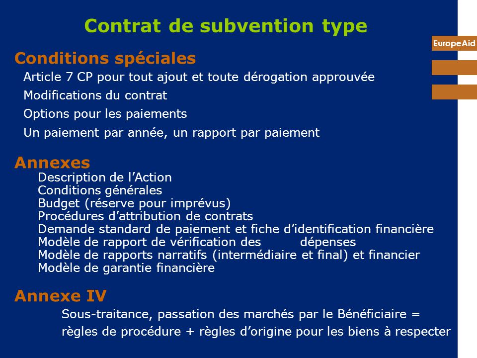 Contrat de subvention type