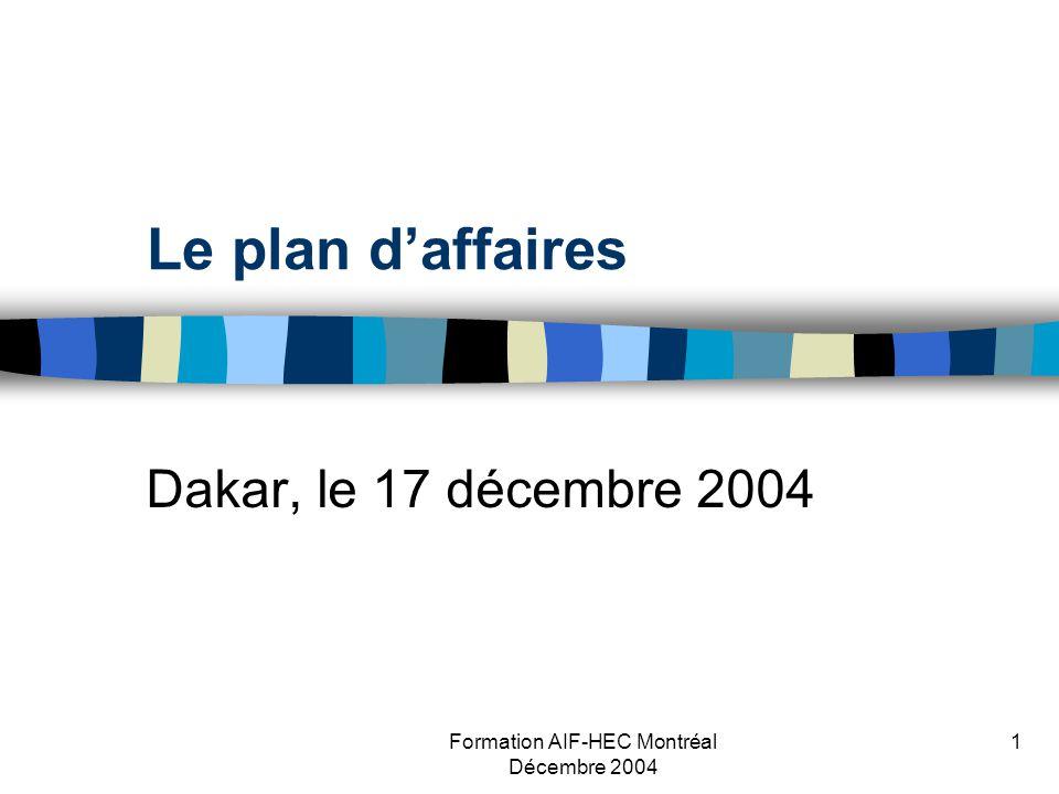 Formation AIF-HEC Montréal Décembre 2004