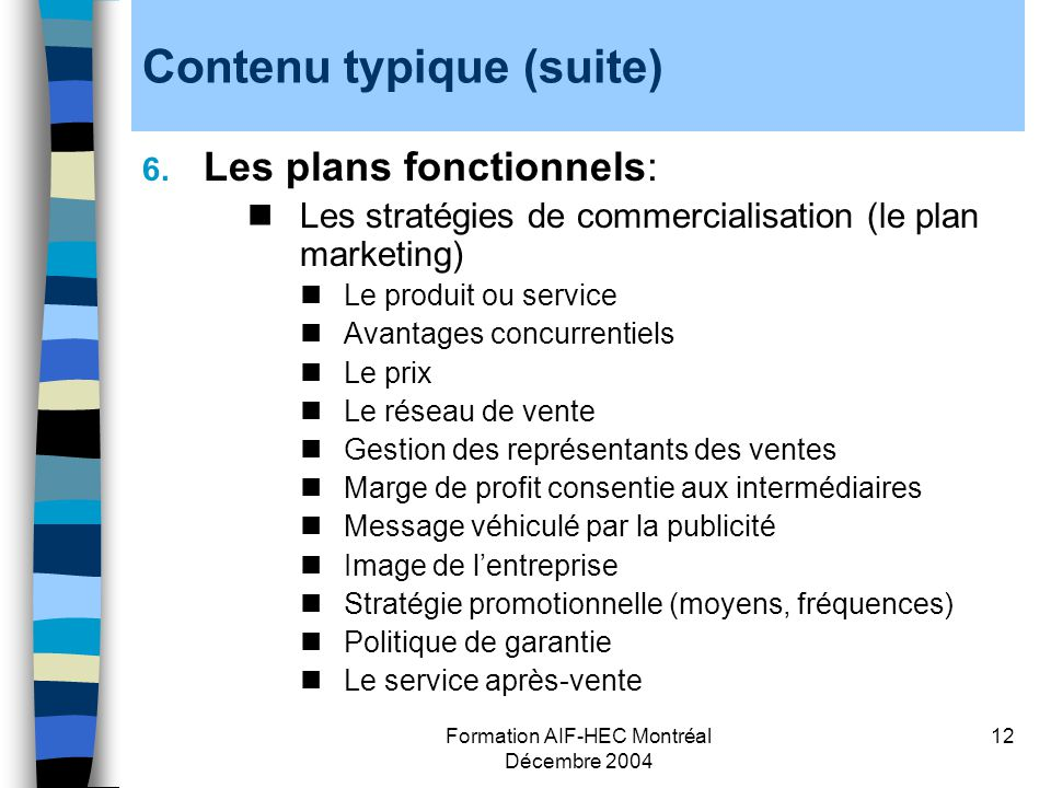 Contenu typique (suite)