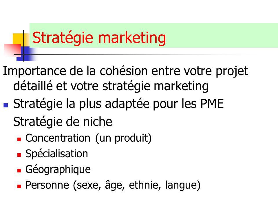 Stratégie marketing Importance de la cohésion entre votre projet détaillé et votre stratégie marketing.