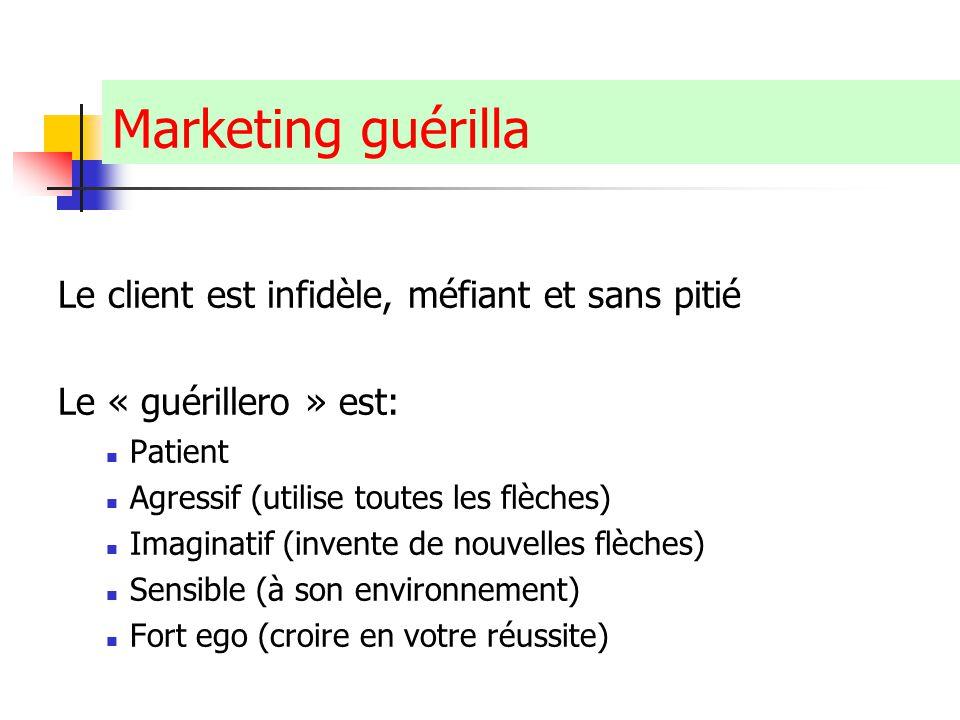 Marketing guérilla Le client est infidèle, méfiant et sans pitié