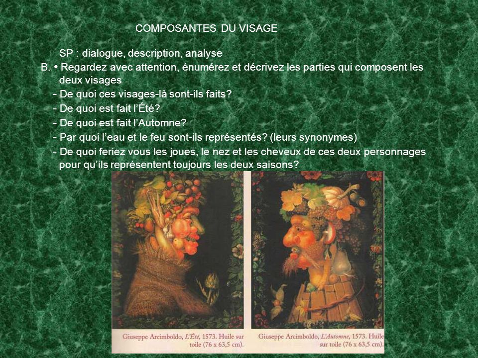 COMPOSANTES DU VISAGE SP : dialogue, description, analyse.