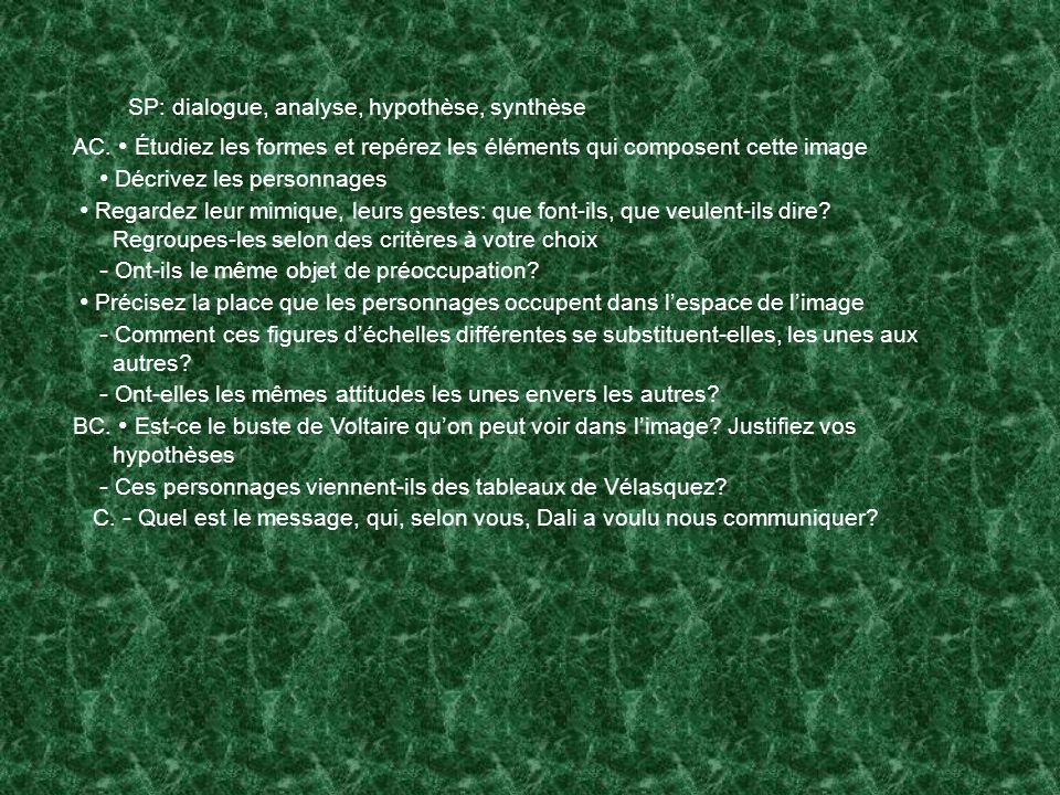 SP: dialogue, analyse, hypothèse, synthèse