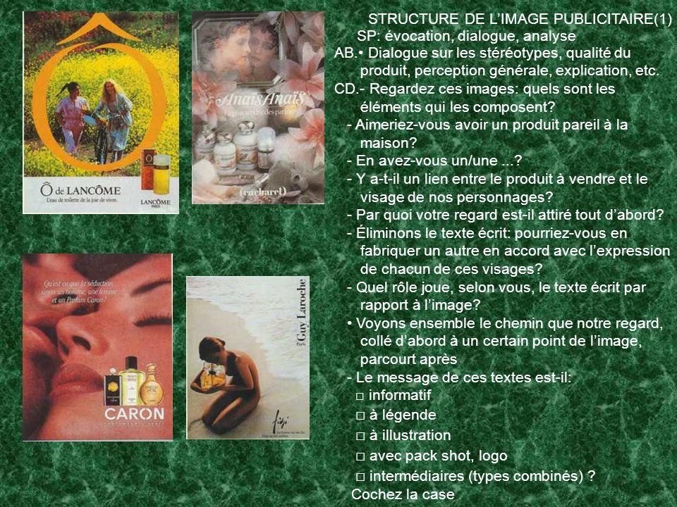 STRUCTURE DE L'IMAGE PUBLICITAIRE(1)