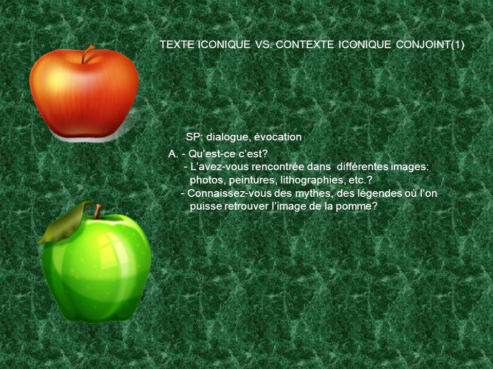 TEXTE ICONIQUE VS. CONTEXTE ICONIQUE CONJOINT(1)