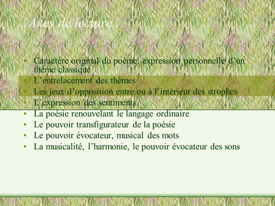 Axes de lecture Caractère original du poème, expression personnelle d'un thème classique. L'entrelacement des thèmes.