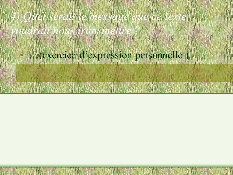 4) Quel serait le message que ce texte voudrait nous transmettre