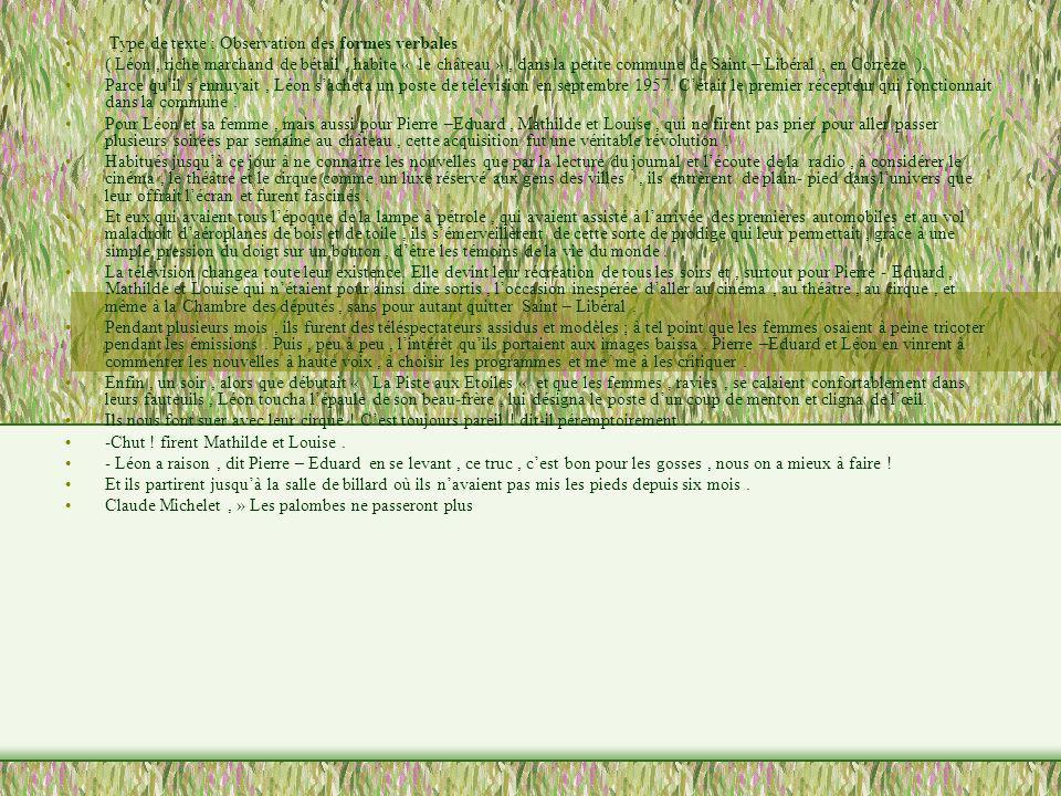Type de texte : Observation des formes verbales