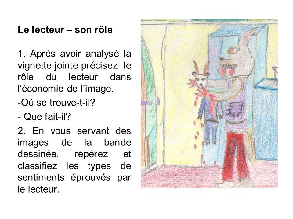 Le lecteur – son rôle 1. Après avoir analysé la vignette jointe précisez le rôle du lecteur dans l'économie de l'image.