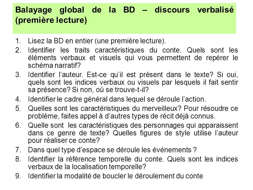 Balayage global de la BD – discours verbalisé (première lecture)