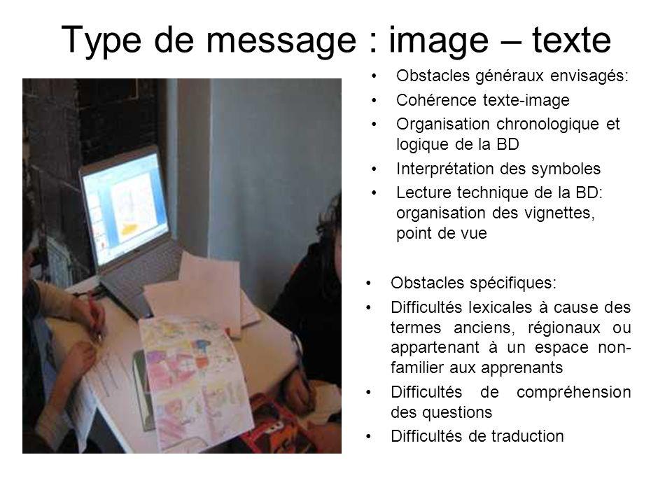 Type de message : image – texte