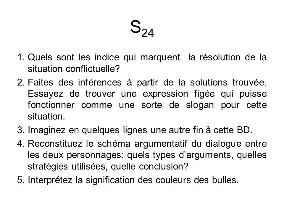 S24 Quels sont les indice qui marquent la résolution de la situation conflictuelle