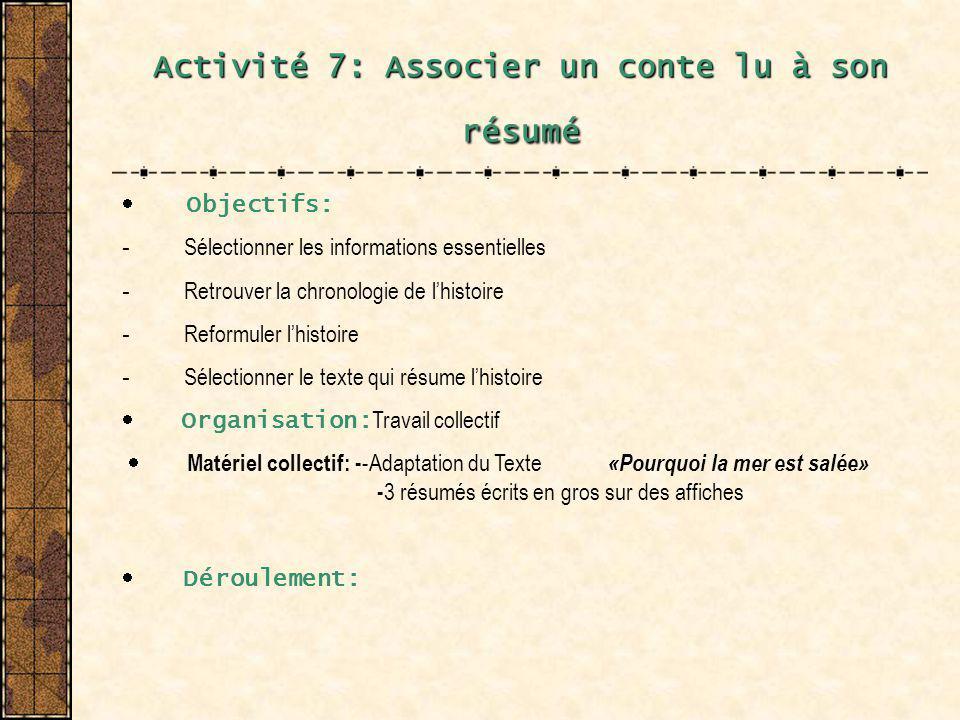 Activité 7: Associer un conte lu à son résumé