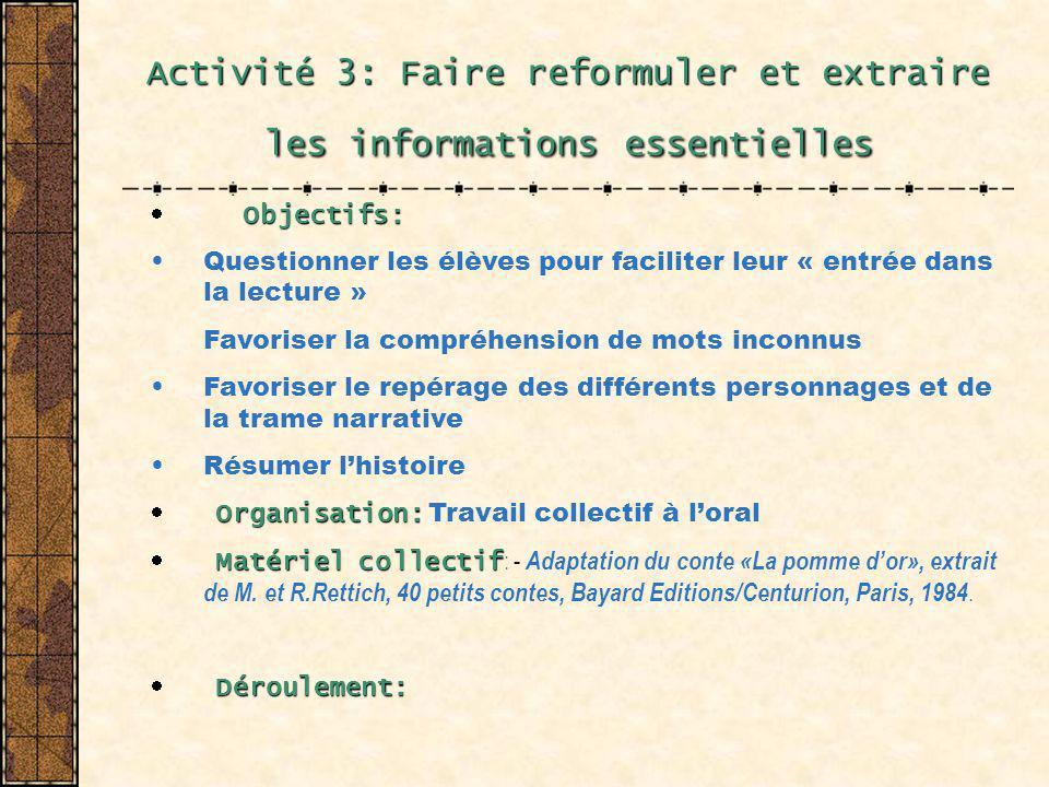 Activité 3: Faire reformuler et extraire les informations essentielles