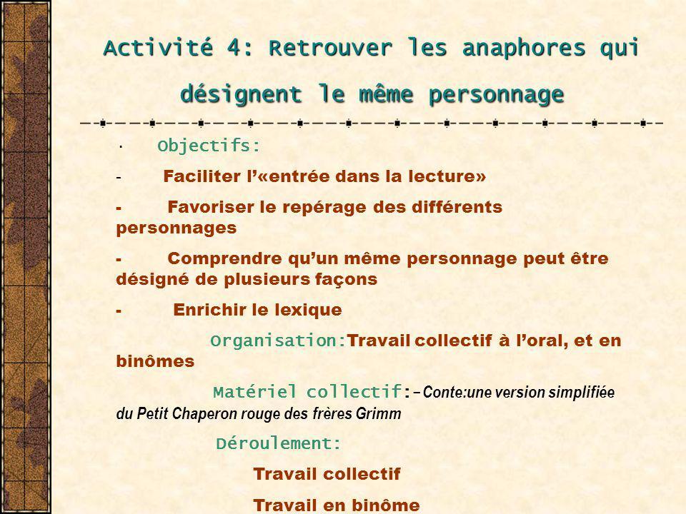 Activité 4: Retrouver les anaphores qui désignent le même personnage