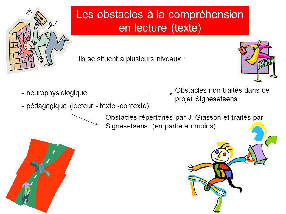 Les obstacles à la compréhension en lecture (texte)