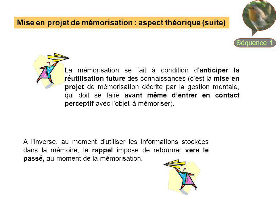 Mise en projet de mémorisation : aspect théorique (suite)