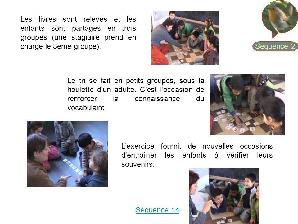 Séquence 2 Les livres sont relevés et les enfants sont partagés en trois groupes (une stagiaire prend en charge le 3ème groupe).