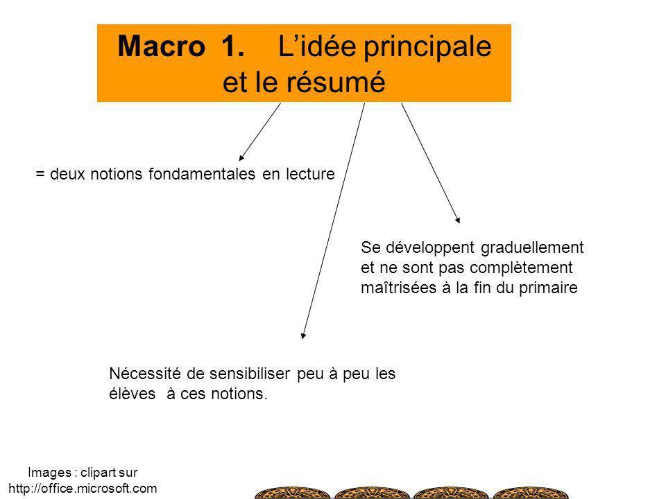 Macro 1. L'idée principale et le résumé