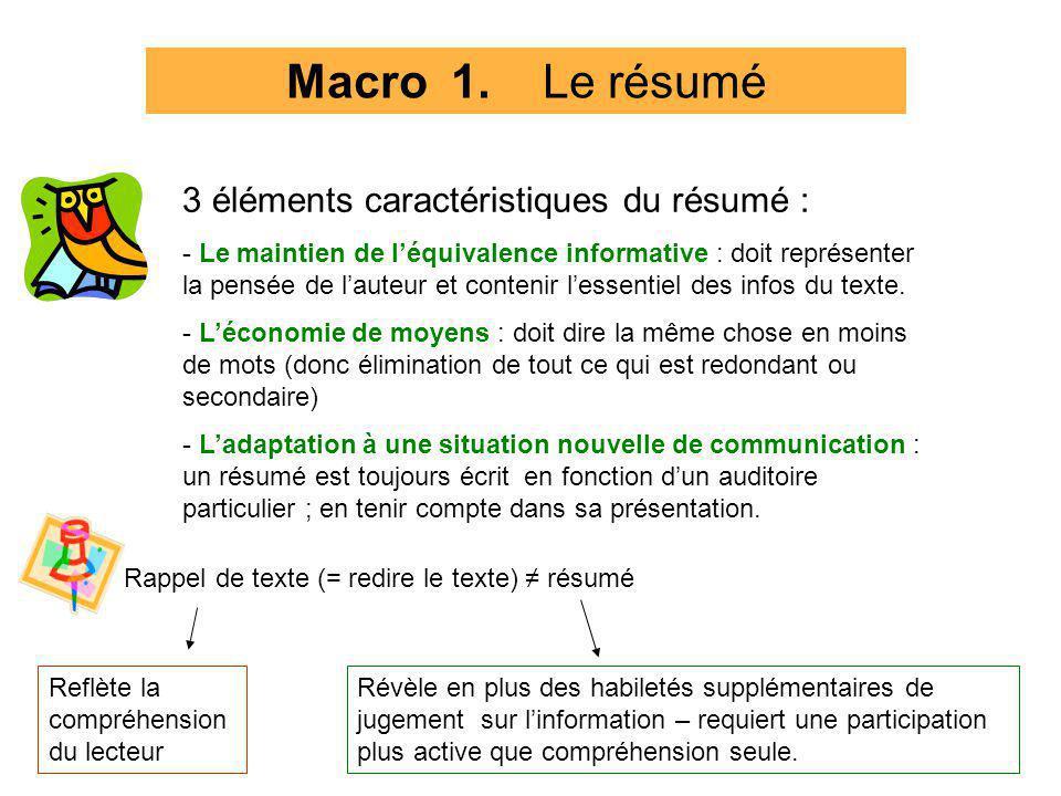 Macro 1. Le résumé 3 éléments caractéristiques du résumé :