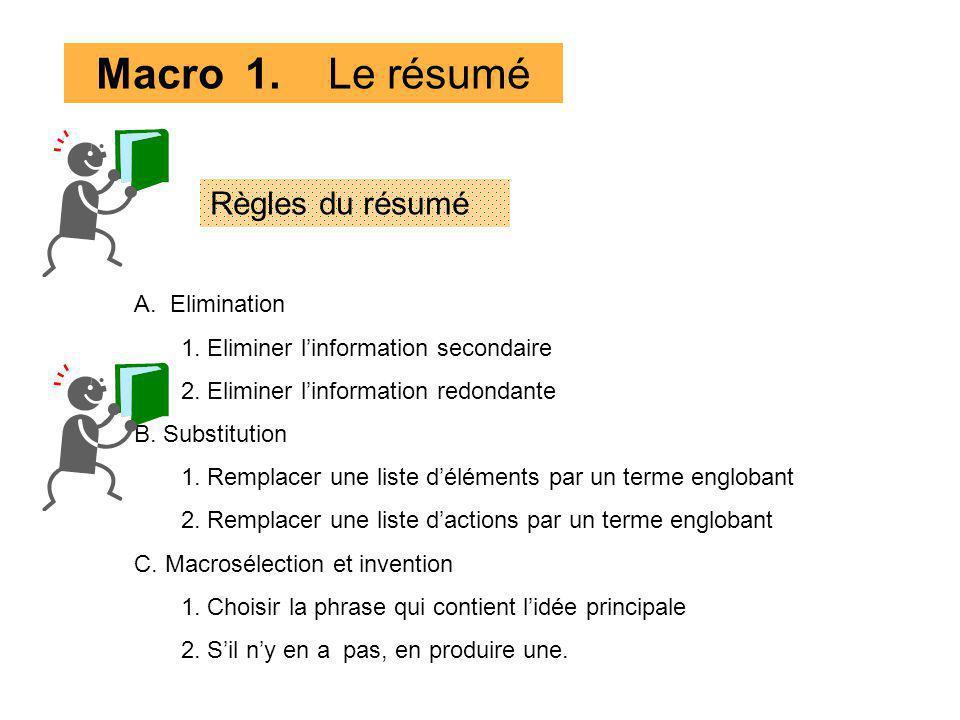 Macro 1. Le résumé Règles du résumé Elimination