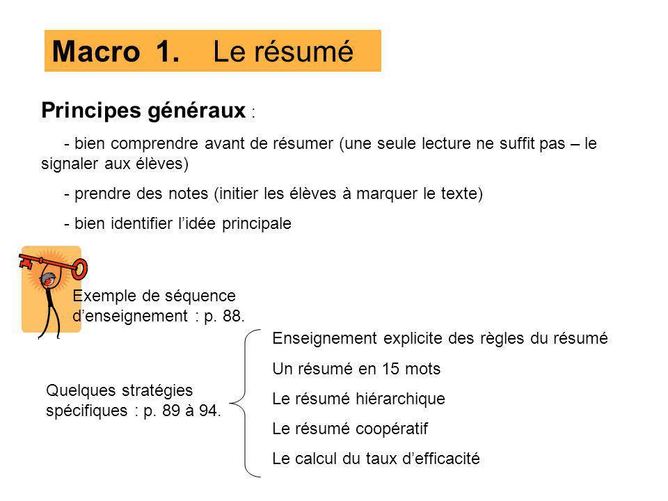 Macro 1. Le résumé Principes généraux :