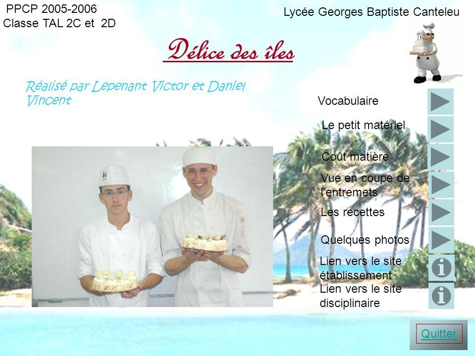 Délice des îles PPCP 2005-2006 Lycée Georges Baptiste Canteleu