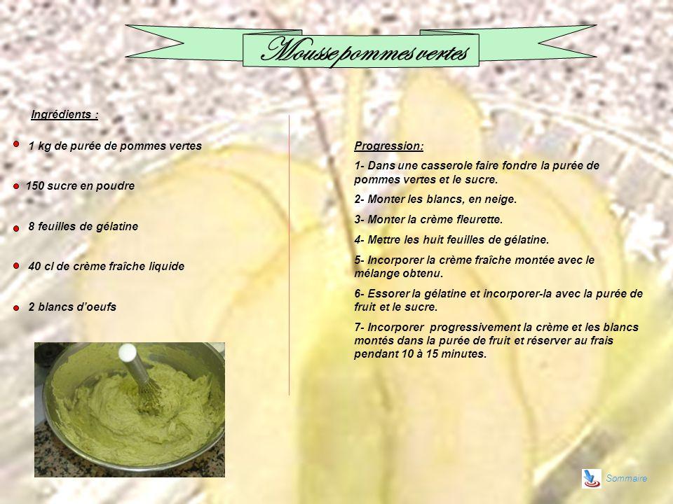 Mousse pommes vertes Ingrédients : 1 kg de purée de pommes vertes