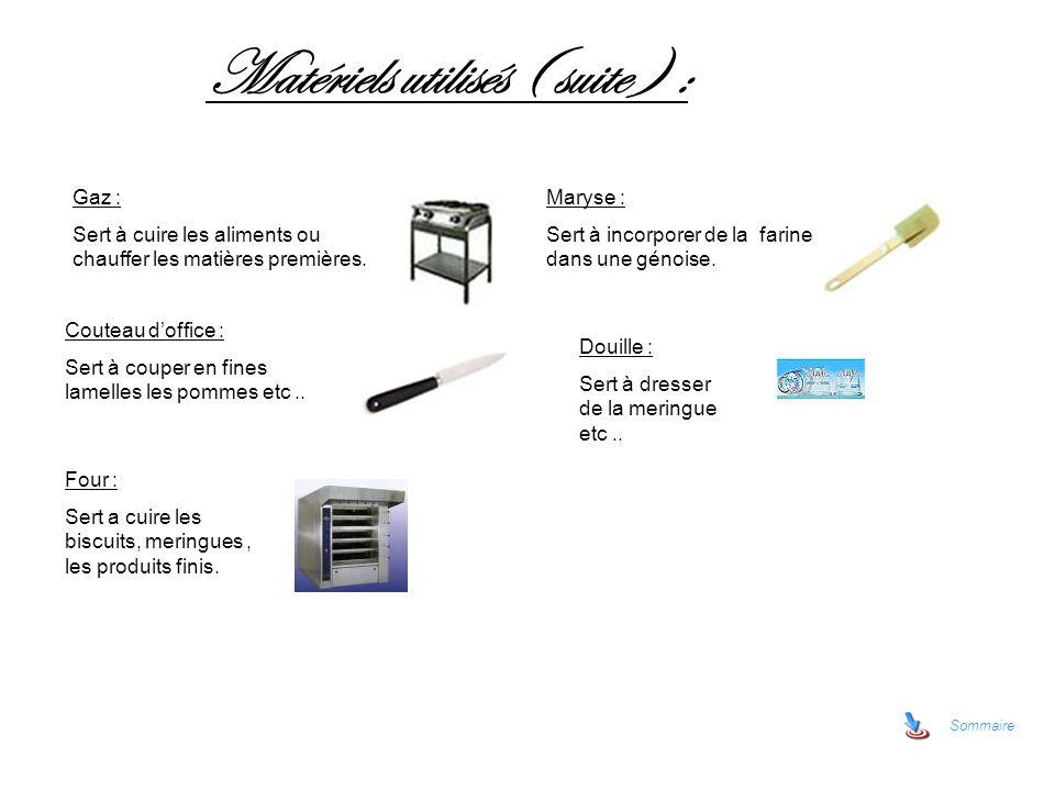 Matériels utilisés ( suite ) :