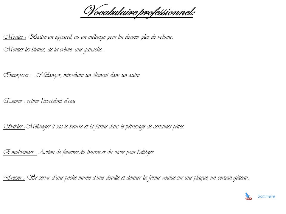 Vocabulaire professionnel: