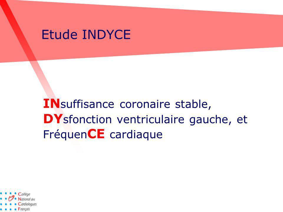 Etude INDYCE INsuffisance coronaire stable, DYsfonction ventriculaire gauche, et FréquenCE cardiaque.
