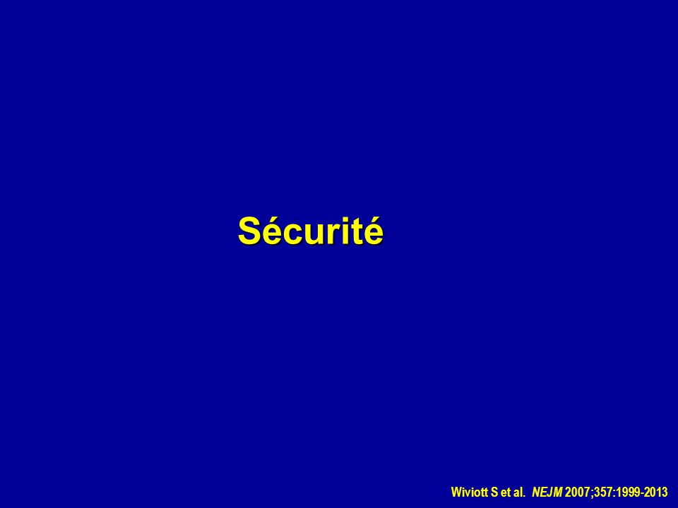 Sécurité Wiviott S et al. NEJM 2007;357:1999-2013