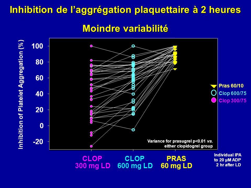 Inhibition de l'aggrégation plaquettaire à 2 heures Moindre variabilité