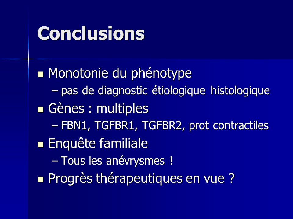 Conclusions Monotonie du phénotype Gènes : multiples Enquête familiale