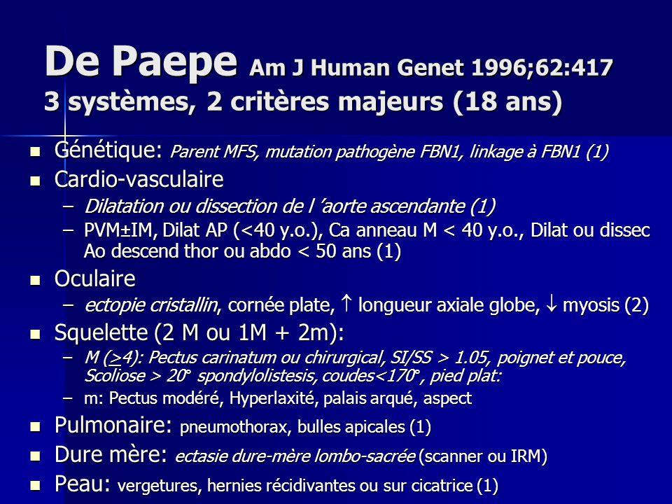 De Paepe Am J Human Genet 1996;62:417 3 systèmes, 2 critères majeurs (18 ans)