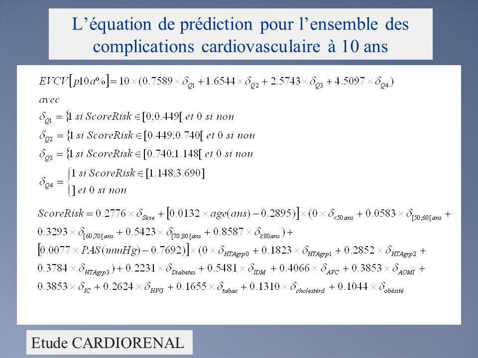L'équation de prédiction pour l'ensemble des complications cardiovasculaire à 10 ans