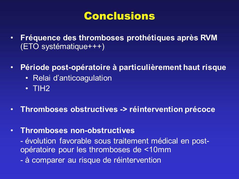 Conclusions Fréquence des thromboses prothétiques après RVM (ETO systématique+++) Période post-opératoire à particulièrement haut risque.