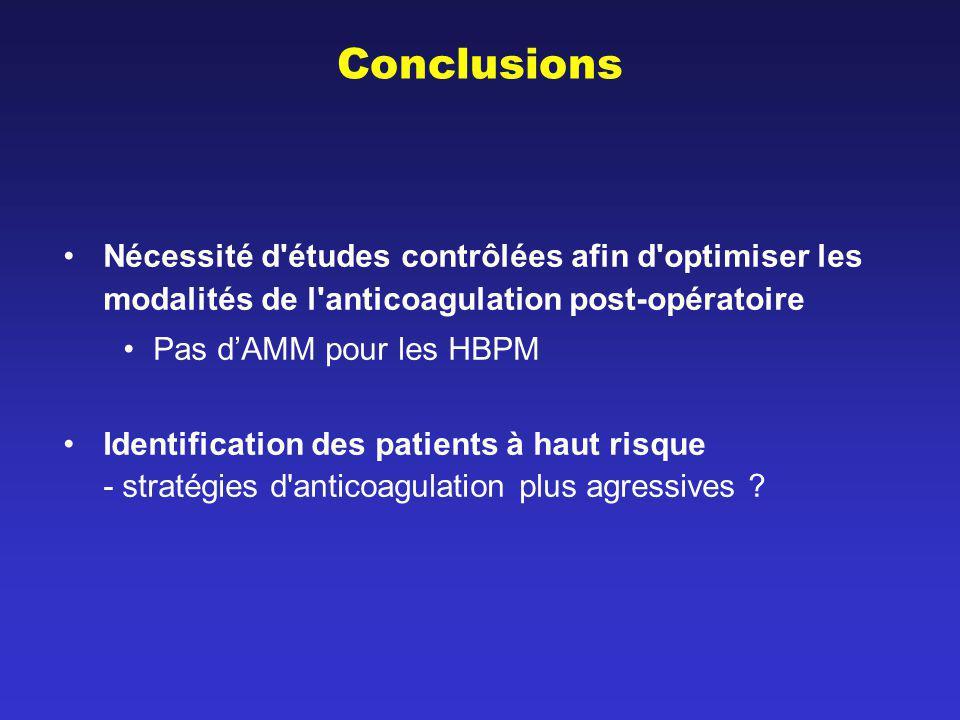Conclusions Nécessité d études contrôlées afin d optimiser les modalités de l anticoagulation post-opératoire.