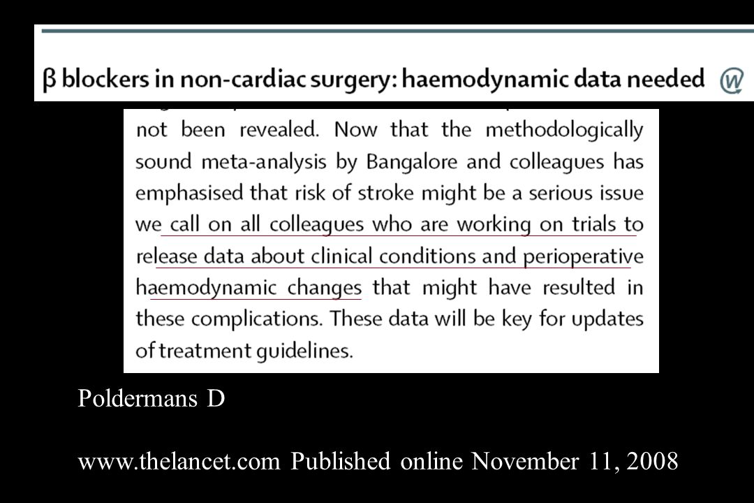 Poldermans D www.thelancet.com Published online November 11, 2008