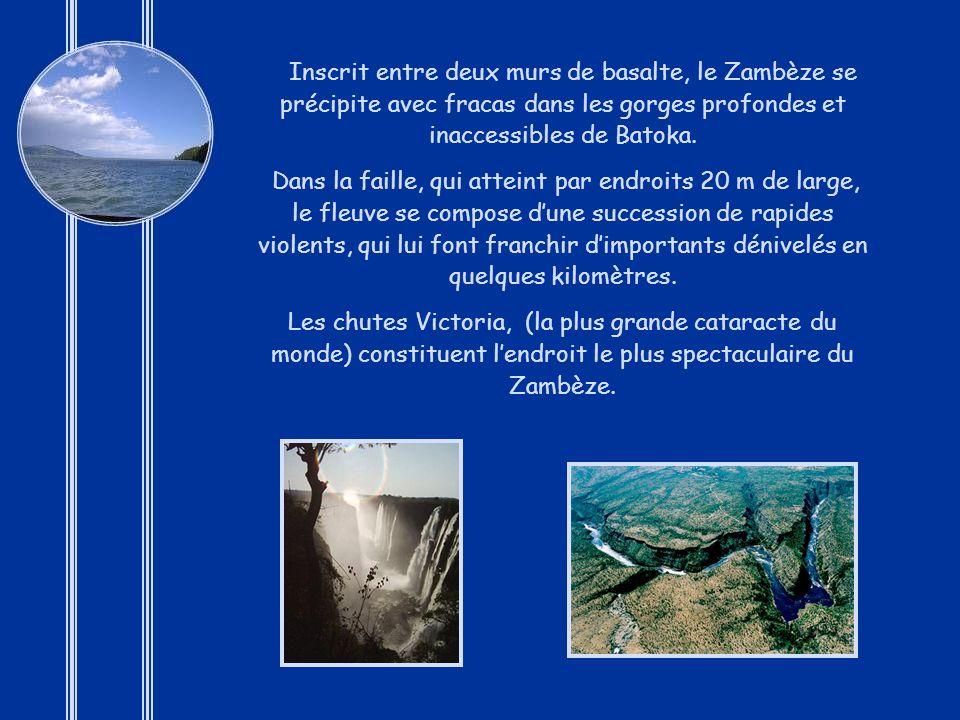 Inscrit entre deux murs de basalte, le Zambèze se précipite avec fracas dans les gorges profondes et inaccessibles de Batoka.