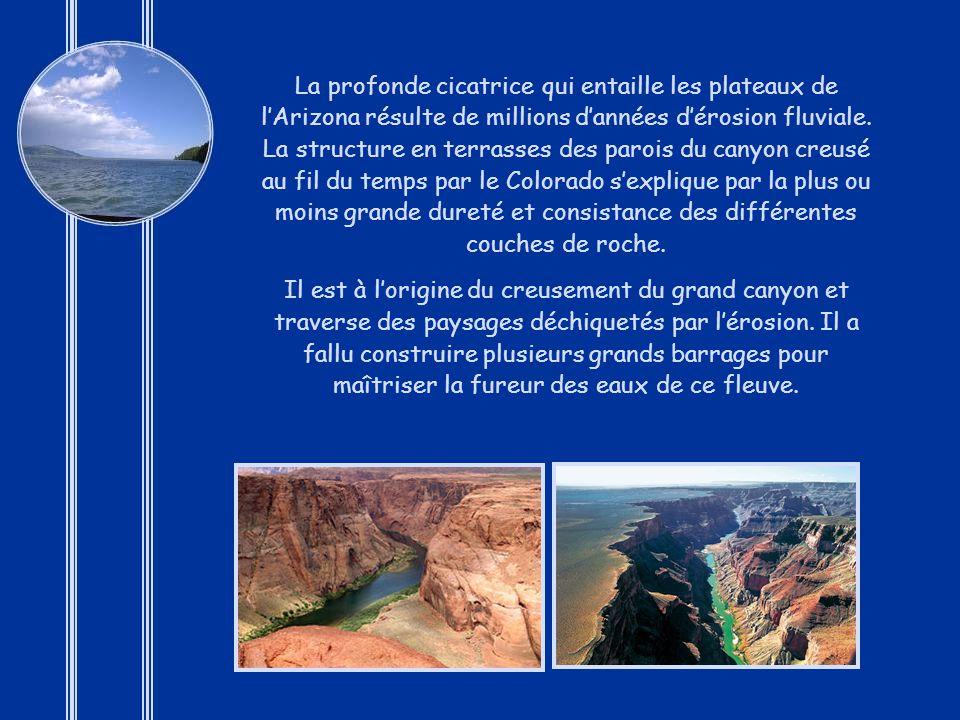La profonde cicatrice qui entaille les plateaux de l'Arizona résulte de millions d'années d'érosion fluviale. La structure en terrasses des parois du canyon creusé au fil du temps par le Colorado s'explique par la plus ou moins grande dureté et consistance des différentes couches de roche.