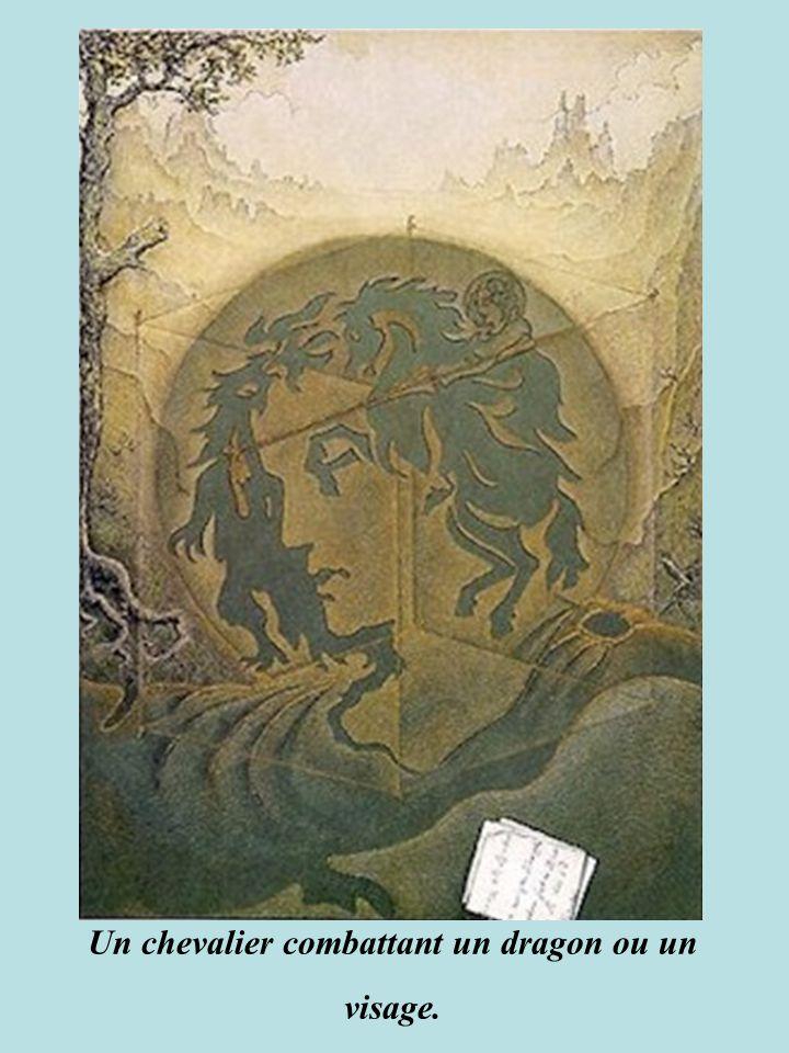 Un chevalier combattant un dragon ou un visage.