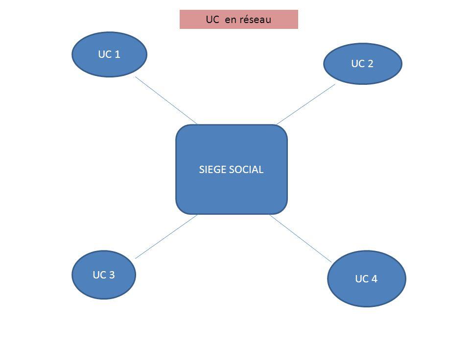 UC en réseau UC 1 UC 2 SIEGE SOCIAL UC 3 UC 4