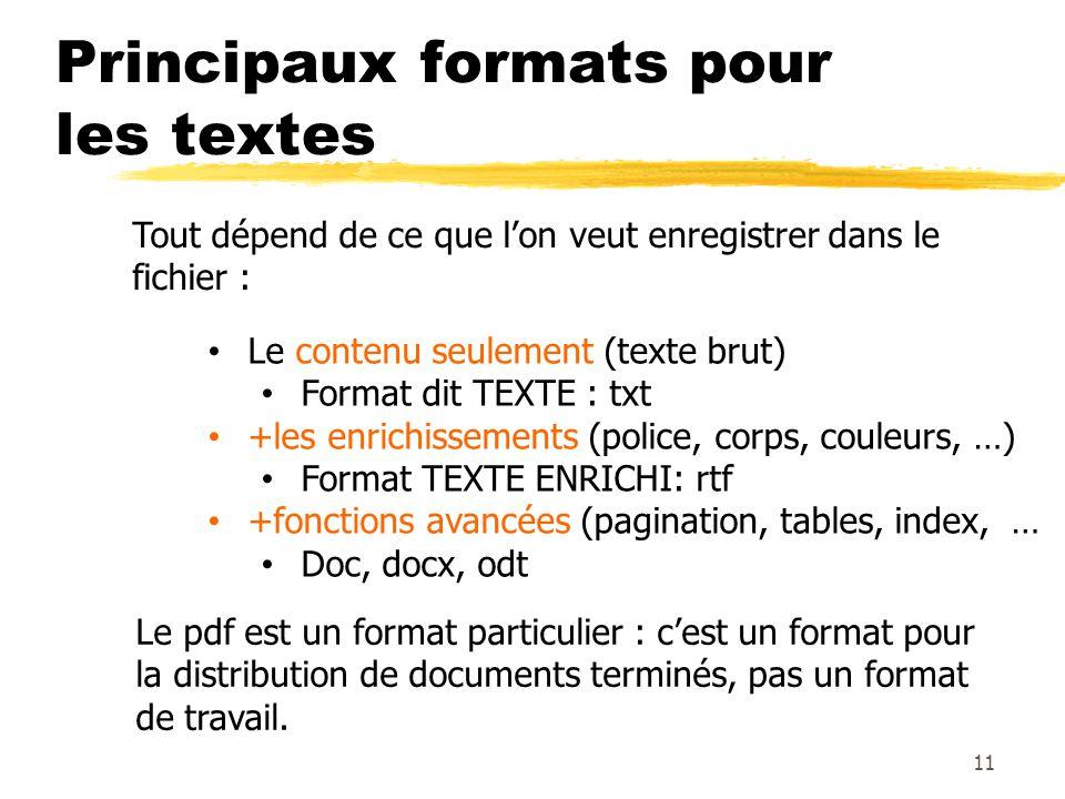 Principaux formats pour les textes