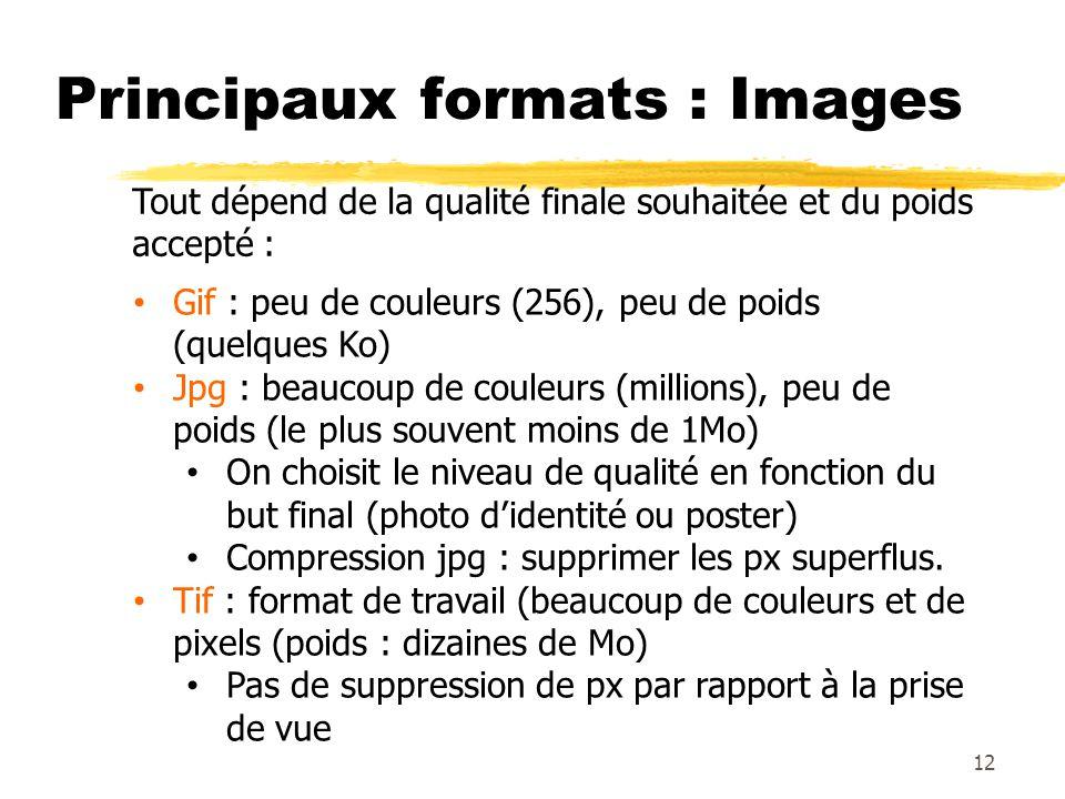 Principaux formats : Images